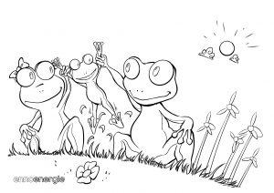 Malvorlage Froschfamilie im Frühling