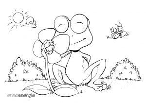Malvorlage Frühling - Frosch riecht an Blume