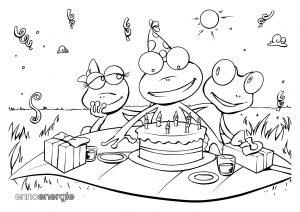 Malvorlage Geburtstag von Froschkind Max mit seiner Familie