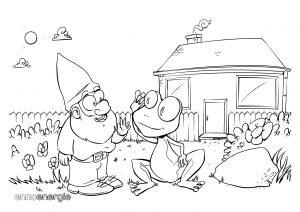 Malvorlage Haus mit Frosch und Gartenzwerg