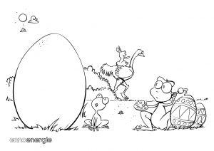 Malvorlage Ostern - Froschvater und Froschkind beim Ausmalen von Ostereiern