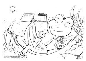 Malvorlage Sommer - Frosch in Hängematte