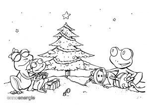 Malvorlage Weihnachten - Froschfamilie mit Weihnachtsbaum