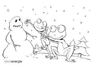Malvorlage Winter - Froschvater mit Froschkind beim Schneemann-Bauen